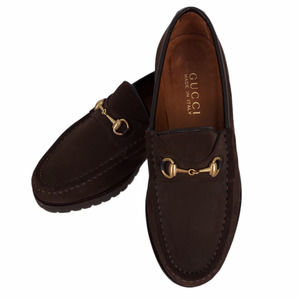 Gucci Horsebit Loafers Brown Suede Slip-On Sz 5.5